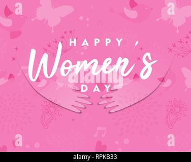 Heureux Jour Femmes carte de souhaits de belle fille coupe papier rose mains avec flower spring doodles. Concept de soutien international des femmes de l'homme. Photo Stock