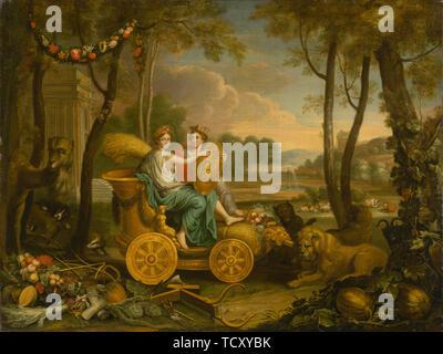 Allégorie des quatre éléments: la terre. Conception pour une tapisserie pour le roi Louis XIV, c. 1680. On trouve dans la Collection de la Galerie nationale slovaque, Bratislava. Photo Stock
