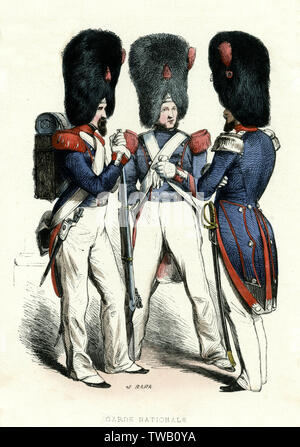 La Garde nationale française (grenadiers) Date: 1850 Photo Stock