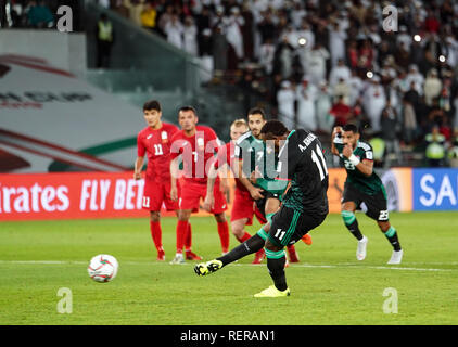 21 janvier 2019, Zayed Sports City Stadium, Abu Dhabi, Émirats arabes unis ; football coupe d'Asie de l'AFC, ronde de 16 ans, Emirats Arabes Unis contre le Kirghizistan ; Ahmed Khalil des Emirats Arabes Unis de notation 3-2 à UAE Photo Stock