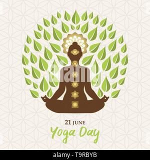Yoga International Day Greeting card illustration de lotus poser silhouette, icônes et chakra de feuilles d'arbres pour la nature concept de connexion. Photo Stock