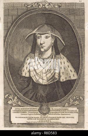 Anna Radziwill (Kostewicz). À partir de: Icones Familiae Ducalis Radivilianae, 1758. Collection privée. Photo Stock