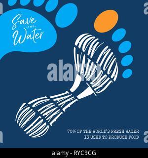 Illustration avec la Journée mondiale de l'eau empreinte écologique durable pour l'environnement de l'aide et de l'eaux à l'échelle mondiale. 70% de la Terre de l'eau fraîche je Photo Stock