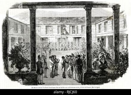 Le Commodore distribue des médailles à des cultivateurs noirs indigènes pour leur travail, à Fort-de-France en Martinique. Photo Stock