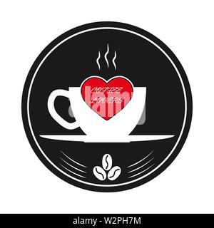 Tasse de café chaud, le cœur et l'inscription les amateurs de café. Modèle pour le logo, la marque ou Bierdeckel. Photo Stock