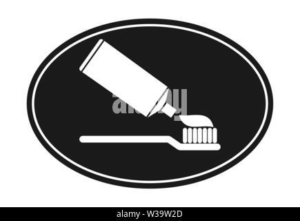 Icône ovale plat.Un tube de dentifrice et une brosse à dents. Photo Stock