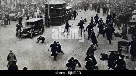 Photographie prise au cours de la protestation de 1932 contre les réductions des prestations de chômage. En date du 20e siècle Photo Stock