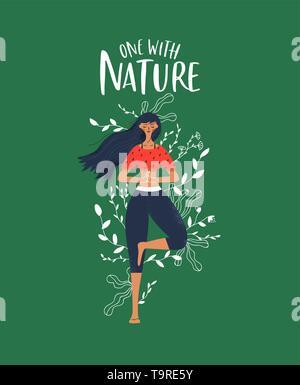 Connexion nature concept. Young woman doing yoga posture de l'arbre avec les feuilles des plantes et fleurs doodles. Photo Stock