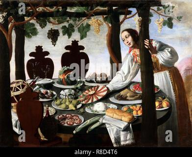Femme couvrant la table, milieu des années 1600. Collection privée. Photo Stock