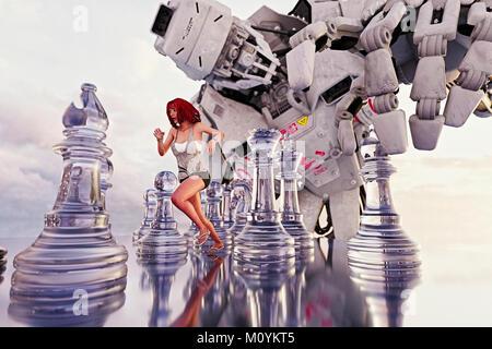 Femme en marche entre les pièces des échecs de robot géant Photo Stock