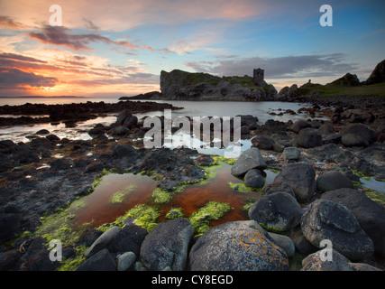 Kinbane Castle sur Kinbane Head, dans le comté d'Antrim Photo Stock