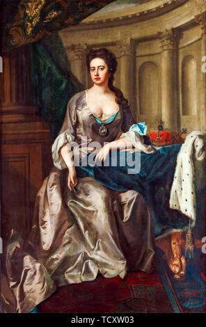 Mikael Dahl, La Reine Anne d'Angleterre, représentée comme Athena, portrait peinture, 1702-1750 Photo Stock
