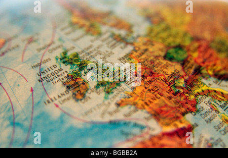 Photographie d'UK Angleterre Royaume-Uni globe cartes atlas voyage Photo Stock