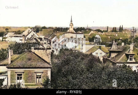 Dans les bâtiments, les églises en Ortrand Ortrand, 1912, Brandebourg, Ortrand, Blick über Ortrand Photo Stock