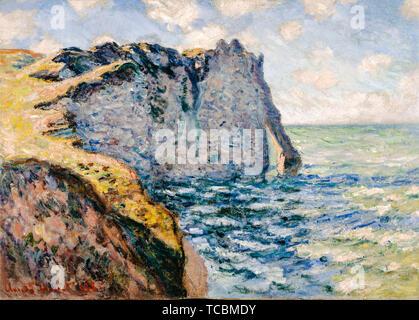 Claude Monet, la falaise d'Aval, la peinture de paysage, Etrétat, 1885 Photo Stock