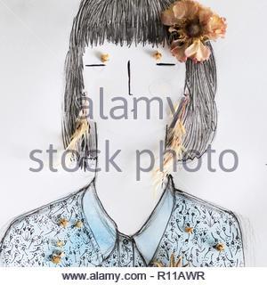 Exemple d'une personne sur un fond blanc Photo Stock