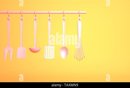 Ustensiles de cuisine rose sur fond jaune. 3D illustration Photo Stock
