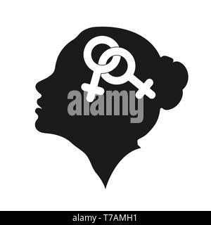 Profil d'une femme à la tête avec le symbole des lesbiennes, modèle plat Photo Stock