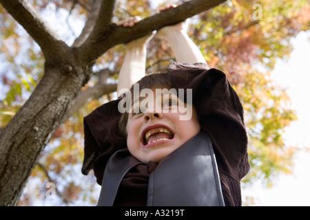 Jeune garçon accroché à partir de la branche d'arbre Photo Stock