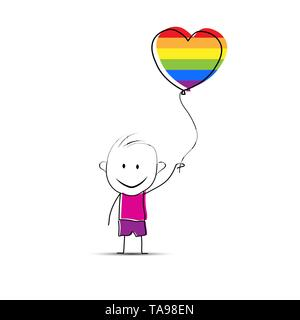 Garçon cartoon dessiné à la main tenant un ballon en forme de coeur aux couleurs de Photo Stock