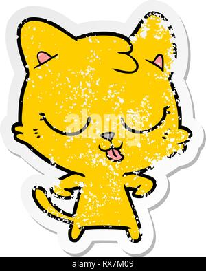 Autocollant en détresse d'un cartoon happy cat Photo Stock