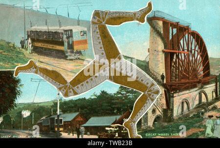 """Des scènes de l'île de Man - Laxey Laxey Wheel, Gare et le Sneffels Mountain Railway divisé par le Manx blason, qui date du xiiie siècle. Les trois pieds sont connues en Manx comme ny tree cassyn (""""les trois jambes""""). Le Triskèle est un ancien symbole, utilisé par les Mycéniens et les Lyciens. Date: 1909 Photo Stock"""