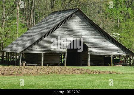 Étable, Great Smoky Mountains National Park, frontière de NC et TN. Photographie numérique Photo Stock