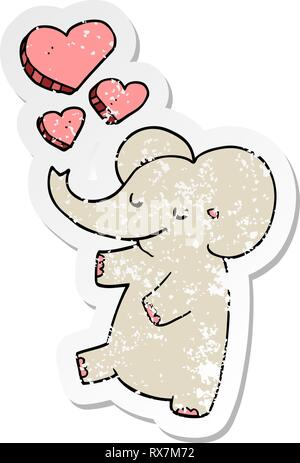 Autocollant en détresse d'un cartoon elephant avec amour coeurs Photo Stock
