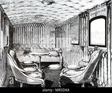 Illustration montrant l'intérieur de la reine Victoria et le Prince Albert's royal transport. En date du 19e siècle Photo Stock