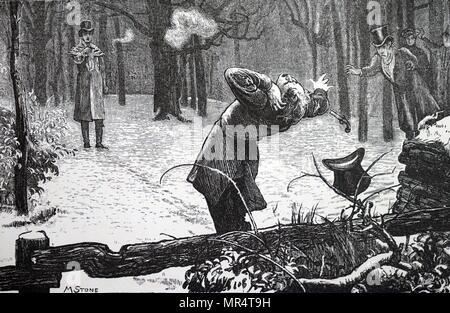 Gravure montrant deux hommes duels. L'un des adversaires est blessé à l'oreille. En date du 19e siècle Photo Stock