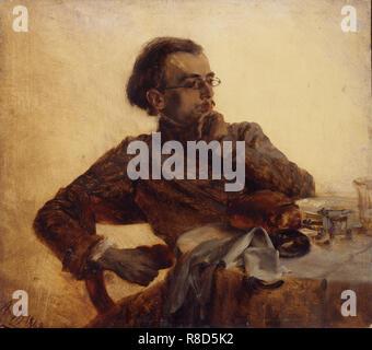 Richard Menzel, frère du peintre au petit-déjeuner, 1848. On trouve dans la Collection de l'État A. Musée des beaux-arts Pouchkine, Moscou. Photo Stock