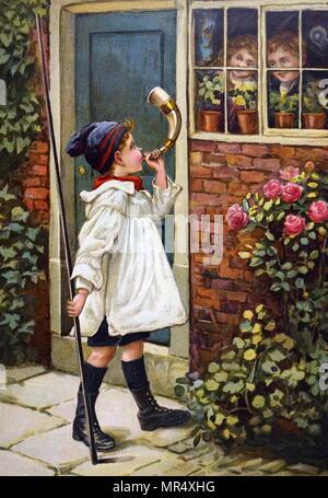 Tableau représentant un jeune garçon soufflant une corne à l'extérieur de sa maison, comme il l'jeunes enfants regarder dans la fenêtre. En date du 20e siècle Photo Stock