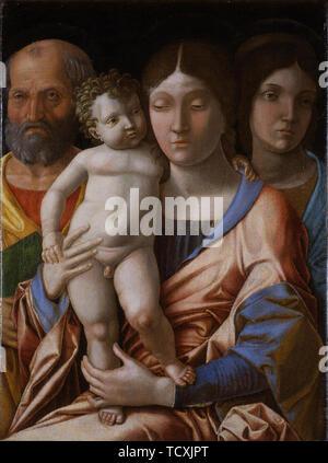 La Sainte Famille avec un saint, 1495. On trouve dans la collection de Museo di Castelvecchio, Vérone. Photo Stock