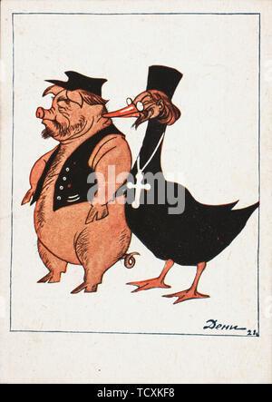 Kulak et Prêtre , 1922. Collection privée. Photo Stock