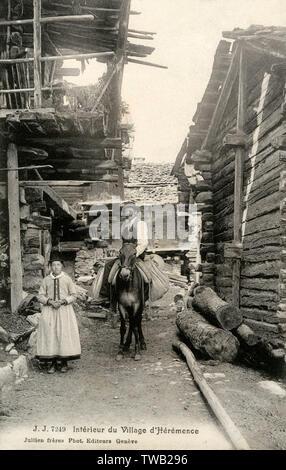 Village de d'Heremence, Suisse - Femme et Mule Rider sur l'une des rues étroites entre les bâtiments traditionnels en bois. Date: 1908 Photo Stock