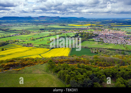 Grande Ayton et le Cleveland Hills, North Yorkshire Moors National Park Photo Stock