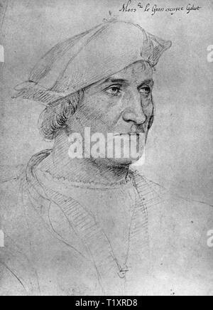 Beaux-arts, Jean Clouet (1480 - 1541), dessin, Galiot de Genouillac, grand écuyer de France, le 'Monsieur' Gran escuyer Galiot, portrait, au début du 16e siècle, Additional-Rights Clearance-Info-Not-Available- Photo Stock