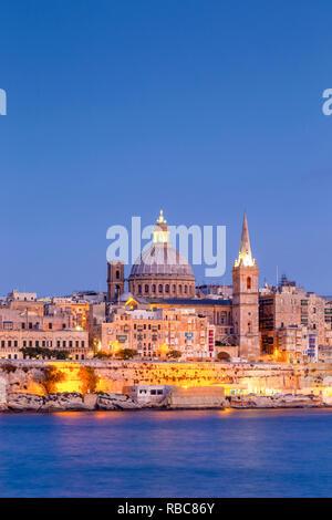 Malte, Malte, La Valette, vue sur Vieille Ville avec St John's Co-cathédrale Photo Stock
