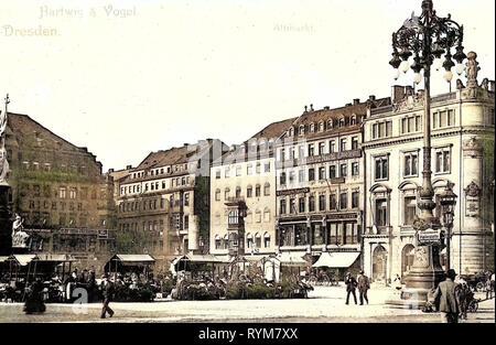 Dresden Altmarkt, avant 1945, Dresde, Germaniadenkmal à Dresde, Allemagne, 1903 Photo Stock