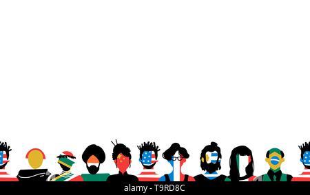 Divers Groupe de personnes avec les drapeaux des pays sur l'espace de copie l'arrière-plan. Européenne inclut, africaine, asiatique et américaine. Photo Stock