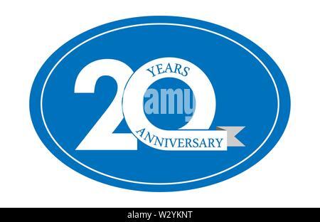 20 ans anniversaire inscription sur ovale bleu, design plat simple Photo Stock