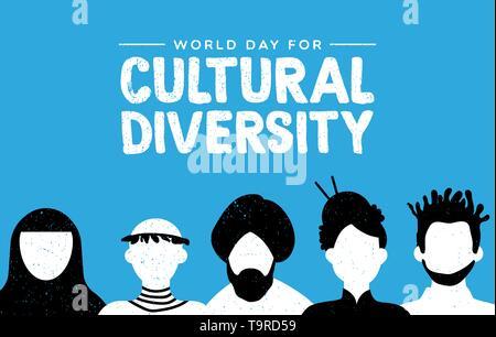 La diversité culturelle jour carte de souhaits illustration. Divers Groupe de personnes comprend des pays africains, asiatiques et américaine. Photo Stock