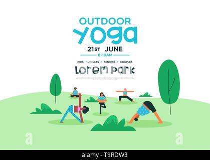 Yoga en plein air de modèle pour la santé et de conditionnement physique ou événement spécial. Groupe de personnes faisant la méditation pose au parc. Photo Stock