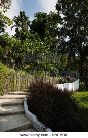 Jardin tropical paysager. Jalakara Villa Hotel, Andaman et Nicoar, France. Architecte: Ajith Andagere, 2016. Photo Stock