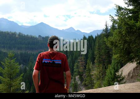 Maison de vacances dans les Rocheuses canadiennes, de la Colombie-Britannique, de profiter de la vue. Photo Stock