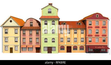 Bâtiments stylisés à l'ancienne architecture européenne. 3D illustration Photo Stock