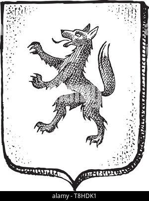L'animal pour l'héraldique en style vintage. Armoiries gravées avec créature mythique. Emblèmes médiévale et le logo de la fantasy kingdom. Photo Stock