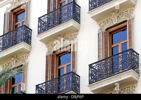L'architecture, les façades historiques, Valencia, Espagne Photo Stock