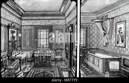 Salle de bains et toilettes dans une maison. English conçu par Doulton & Co., 1882 Photo Stock