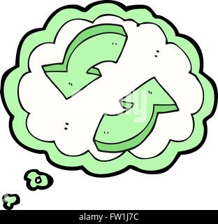 Freehand appelée bulle pensée cartoon flèches recyclage Photo Stock